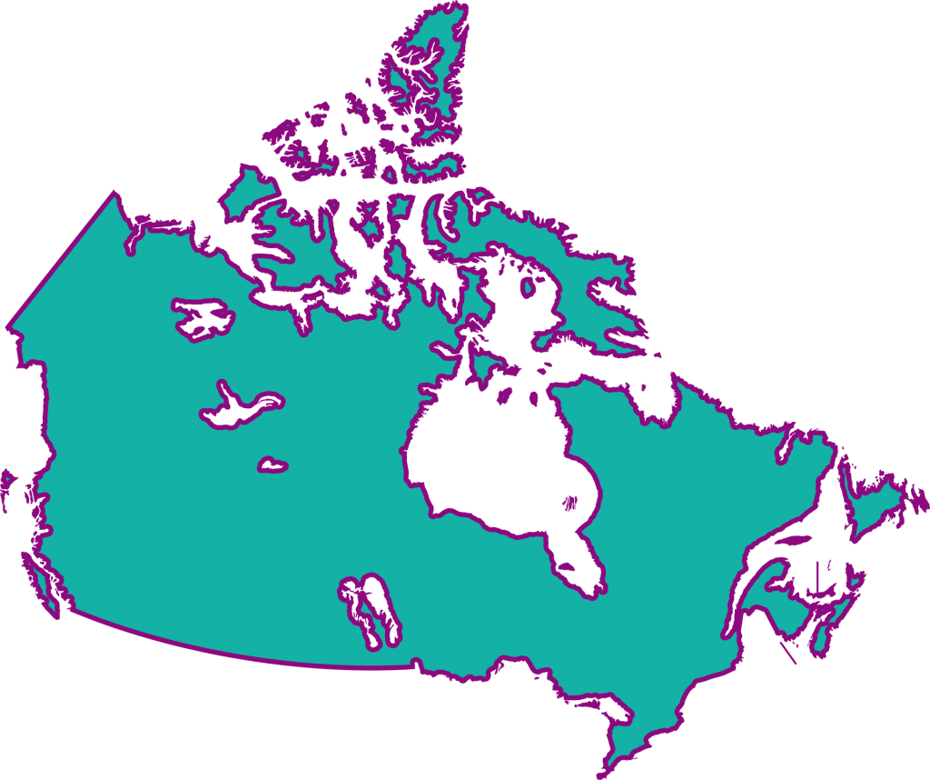 Map of Canada in blue